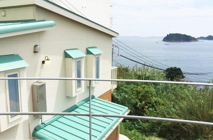 設計した日間賀島の眺めの良い二世帯住宅の外観