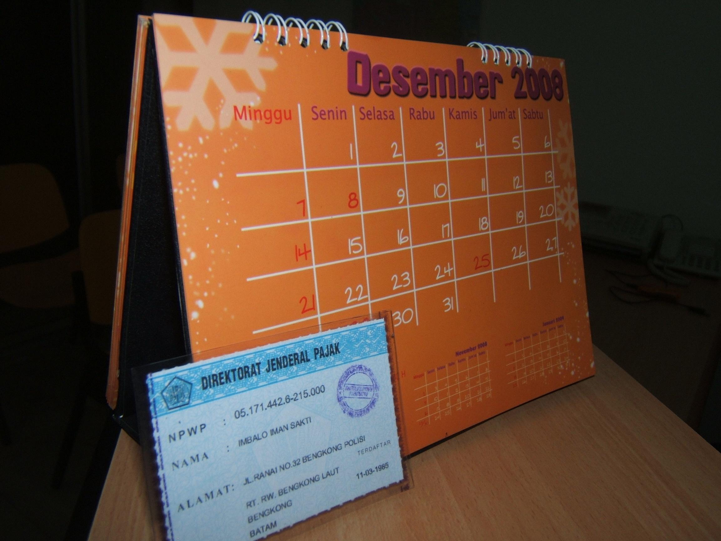 Kartu NPWP tenggat waktu hingga 31 Desember 2008