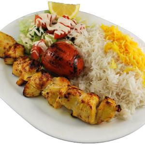 Kebabspieß mit Reis