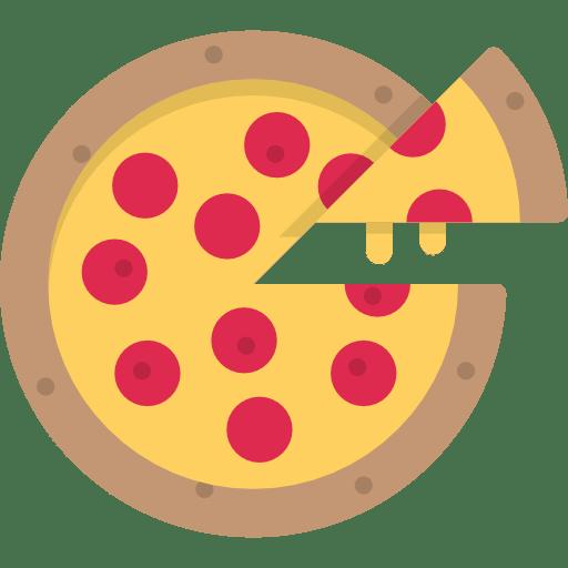 Pizza mit Pizzastück