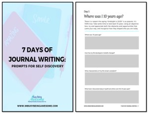 7 Days of Journal Writing Prompts for Self Discovery, bullet journal, self reflection, mindfulness, diary, ideas