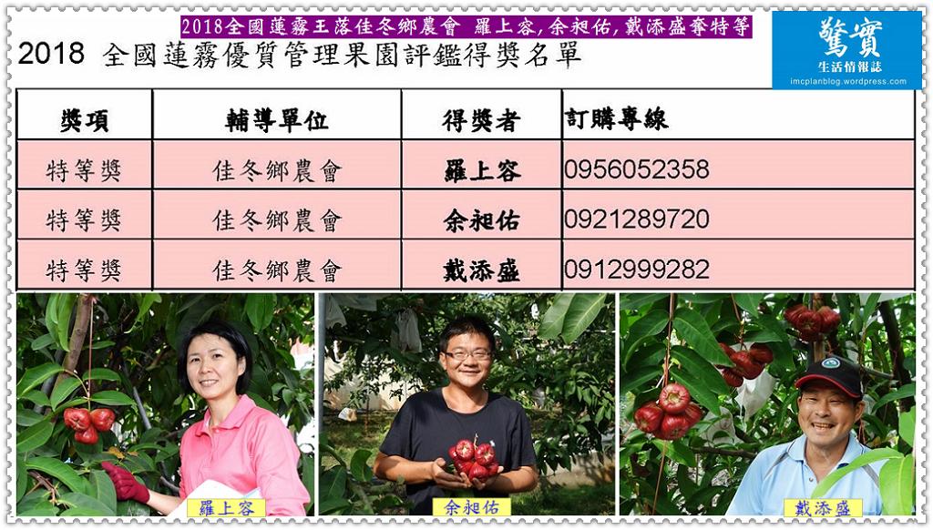 20180128b(驚實)-2018全國蓮霧王落佳冬鄉農會 羅上容,余昶佑,戴添盛奪特等01