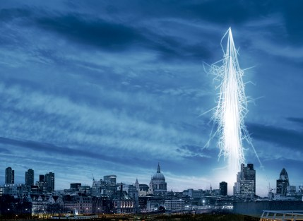 Cosmic Rays over London (artists impression)