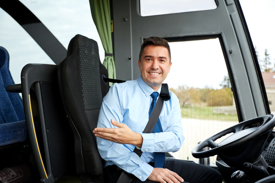 Happy driver inviting guests on board