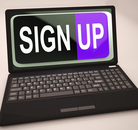 Sign Up Button On Laptop Shows Website Registration