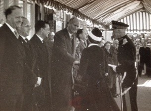 The Queen and Prince Philip greeting Christopher Hinton