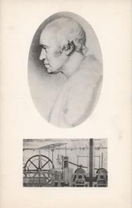 James Watt, portrait from a steel engraving alongside an elevation of his double acting condensing steam engine. Christmas 1961.