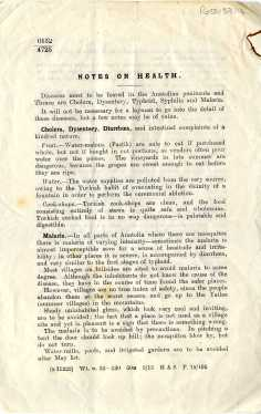 Notes on Health, concerning diseases in the Antolian peninsula, War Office 1915