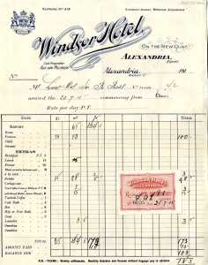 Bill for 3 days board/lodging at Alexandria, 1915