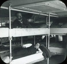 Members in steerage accommodation bunks en route to New York