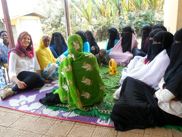 Nicola Harford with radio groups in Ethiopia