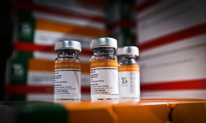 Chegada de 59.800 doses da vacina CoronaVac (17.03.2021) Foto: Breno Esaki/Agência Saúde DF