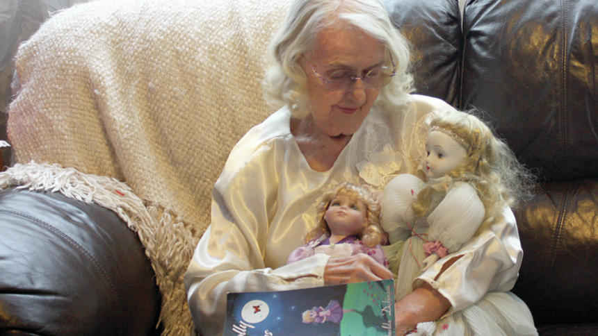 "Shelley Nelson Imelda Dickinson holds her ballerina dolls that helped inspire her poetry with their stories. At 87, Dickinson has published a collection of long poems and prose inspired by the custom dolls she's given to family and friends. ""Personolly Yours"" is her first published work and has taken 25 years to write."