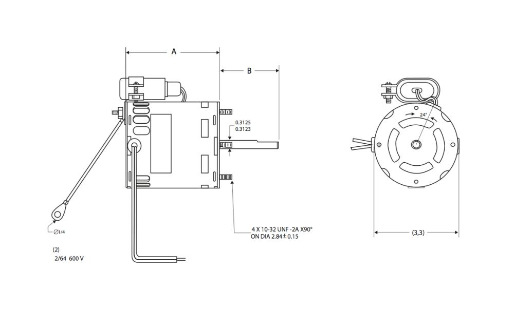 medium resolution of 29 frame motor 3 3 diameter type psc permanent split capacitor