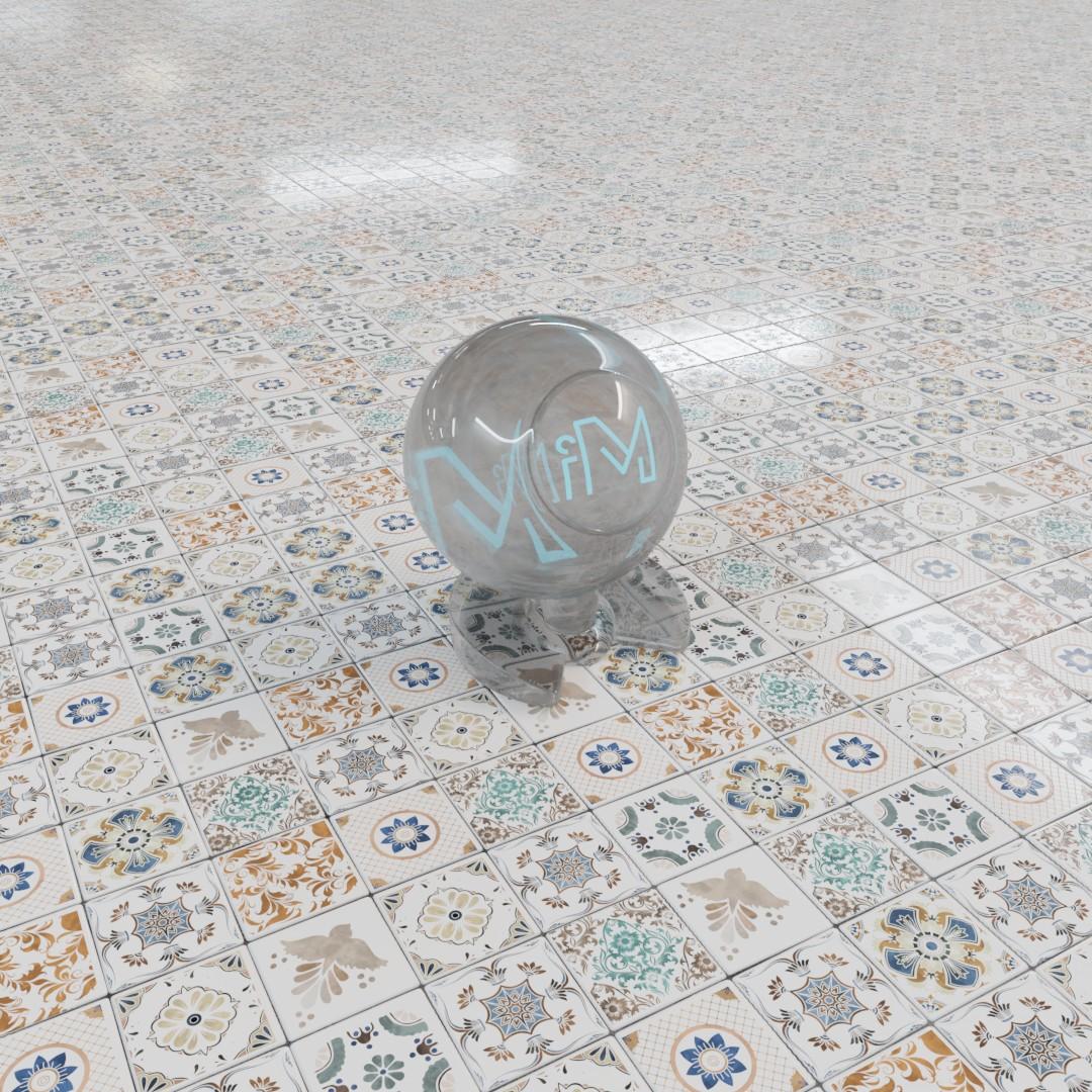 Ornamental tiles coloured