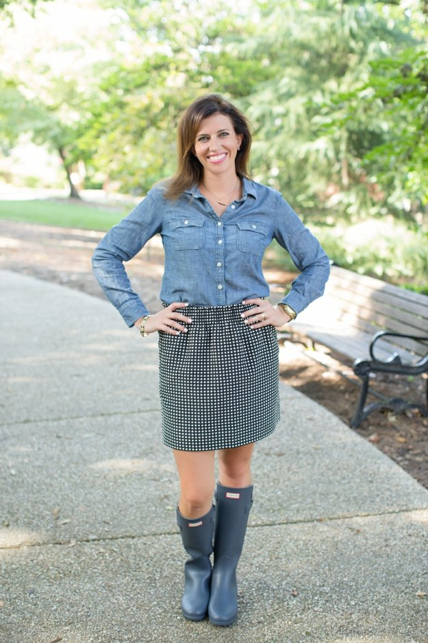 Chambray + Polka Dots + Hunter Boots