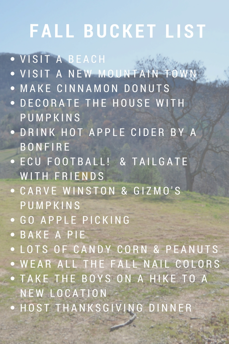 2016 Fall Bucket List