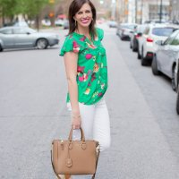 Green Floral Top + White Jeans for Spring
