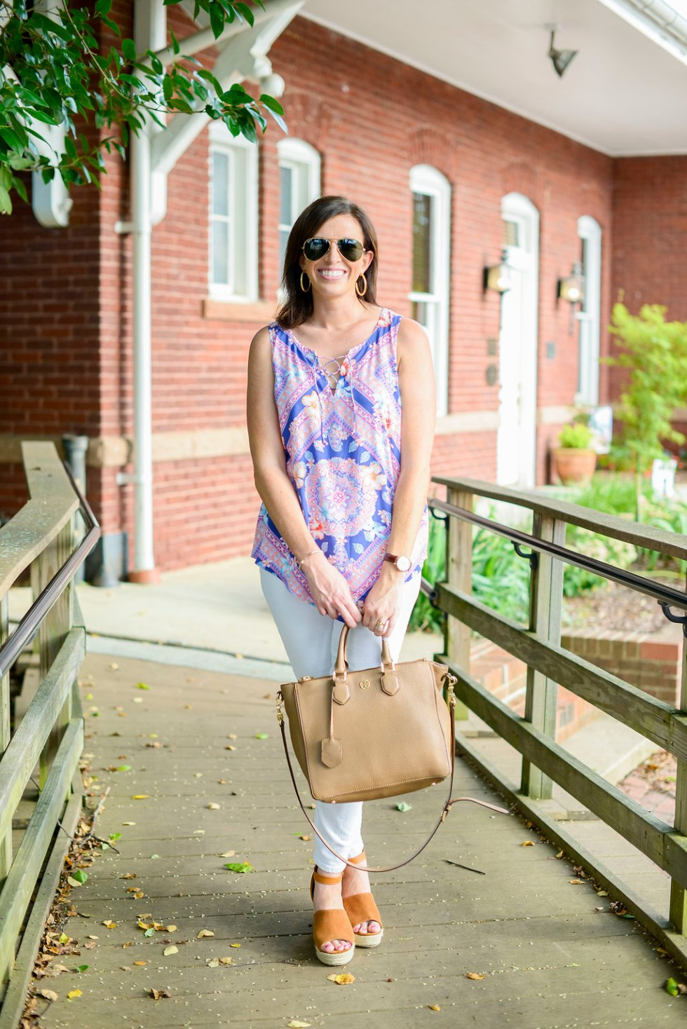 J. Jill Scarf Print Top + White Jeans - @mbg0112 - I'm Fixin' To
