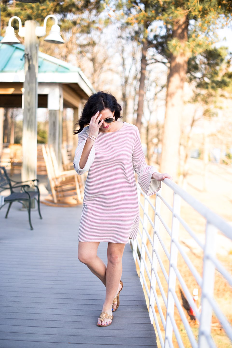 Casual Spring Outfits featured by top US fashion blog I'm Fixin' To; Image of a woman wearing J. Crew Factory Stripe Dress, David Yurman Bangle, Sheila Fajl Hoops, Ray-Ban Polarized Aviators and Jack Rogers Sandals