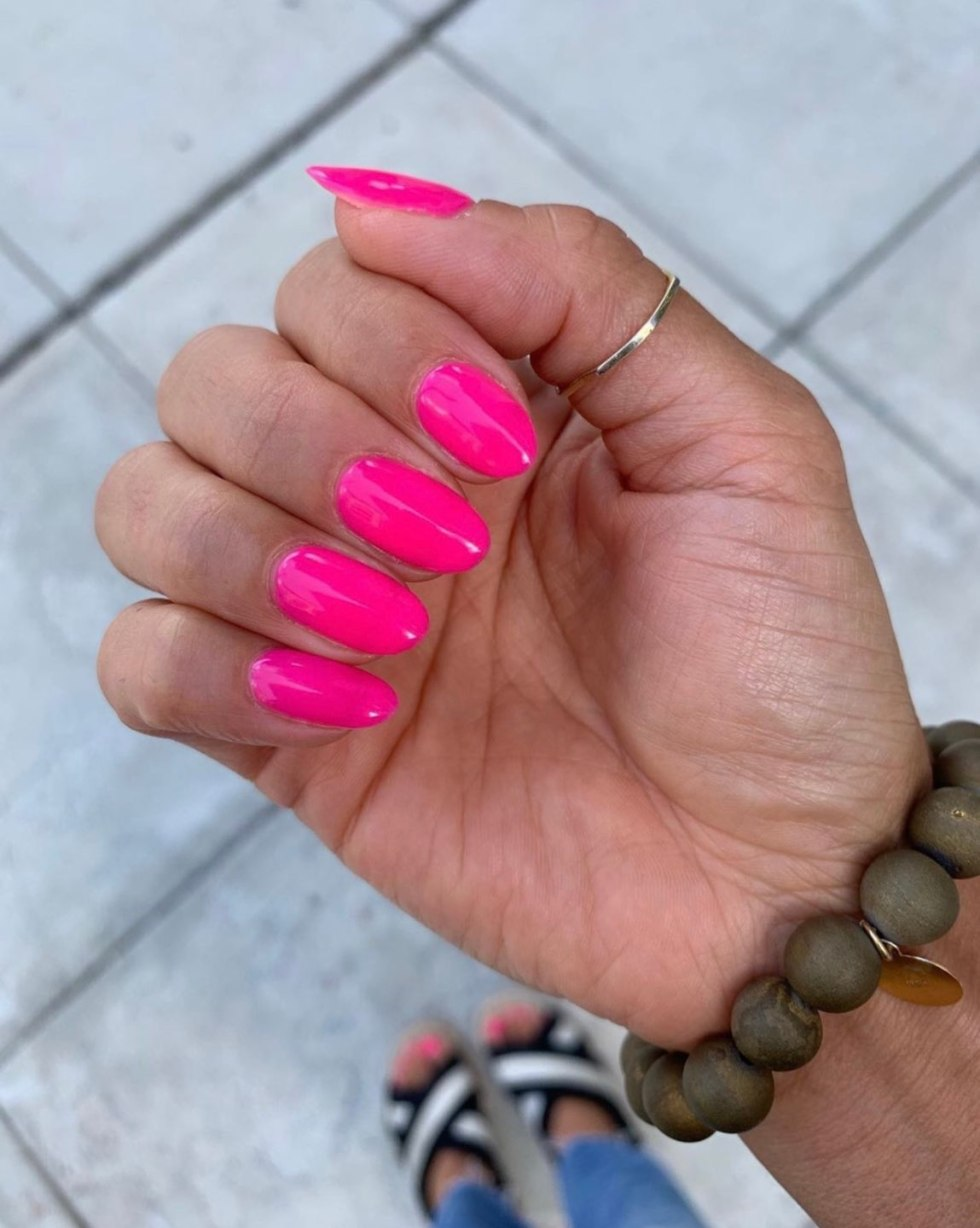 Top 10 Best Summer Nail Polish Colors - I'm Fixin' To - @mbg0112 | Top 10 Best Summer Nail Polish Colors by popular North Carolina blog, I'm Fixin' To: image of a hand with OPI V-I-Pink Passes on the finger nails.
