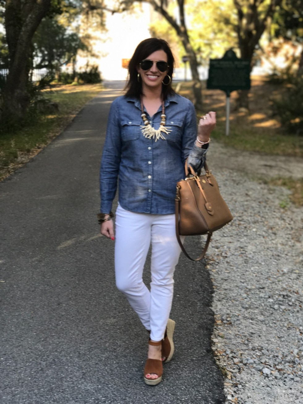 Building Your Spring Wardrobe Capsule - I'm Fixin' To - @mbg0112 | | Spring wardrobe capsule essentials featured by top US fashion blog, I'm Fixin' To: denim button up shirt and white jeans