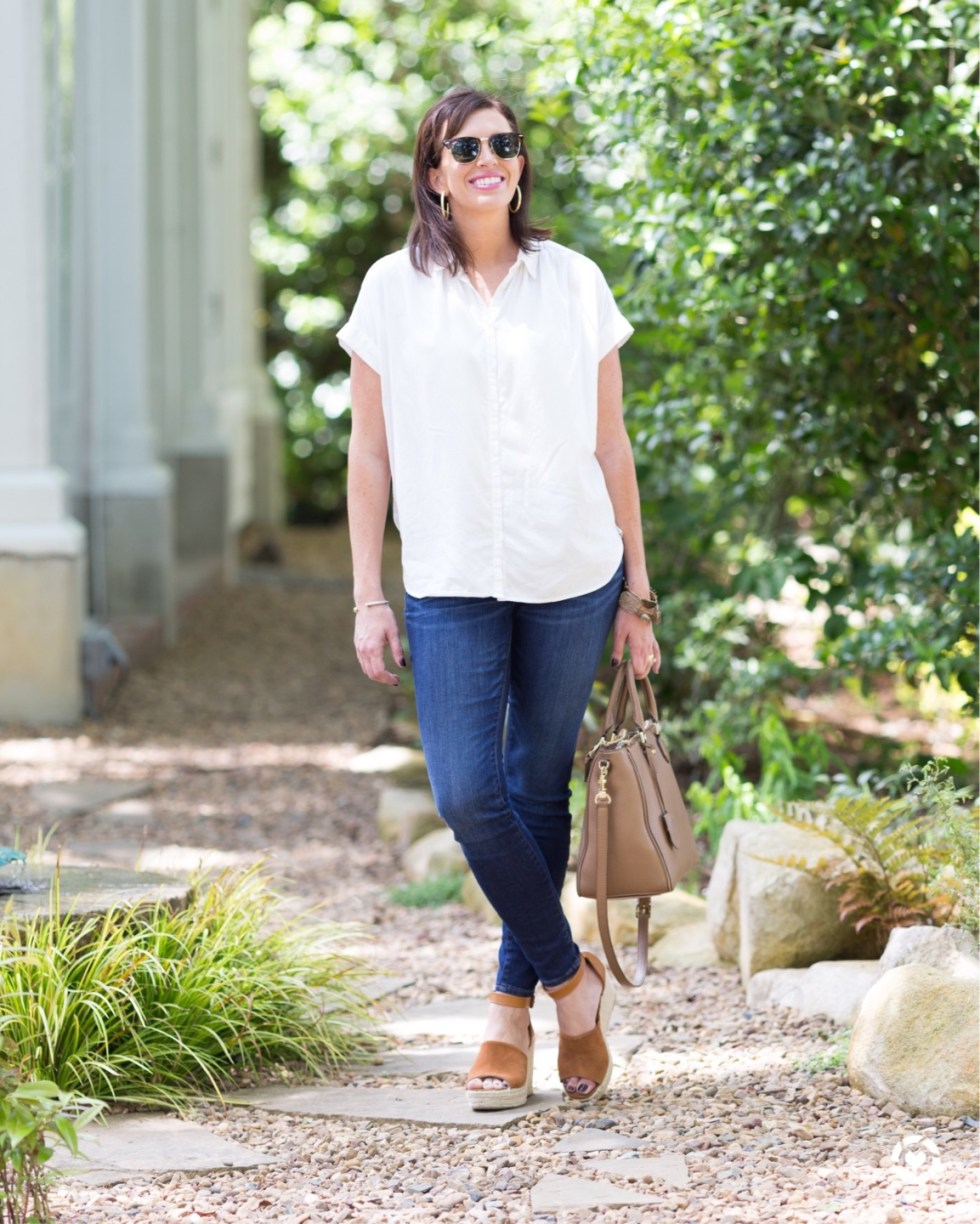 Building Your Spring Wardrobe Capsule - I'm Fixin' To - @mbg0112 | | Spring wardrobe capsule essentials featured by top US fashion blog, I'm Fixin' To: white button up boyfriend shirt, denim jeans and cognac wedge espadrilles