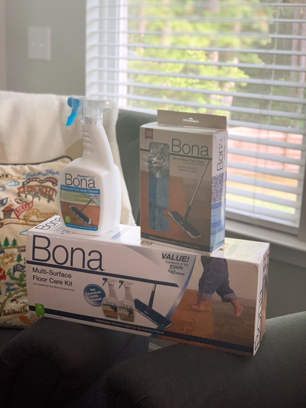 Keeping Our Floors Clean with Bona Essentials - I'm Fixin' To - @mbg0112 | Keeping Our Floors Clean with Bona Essentials by popular lifestyle blog, I'm Fixin' To: image of a Bona Essentials Multi-Surface Floor Care Kit.