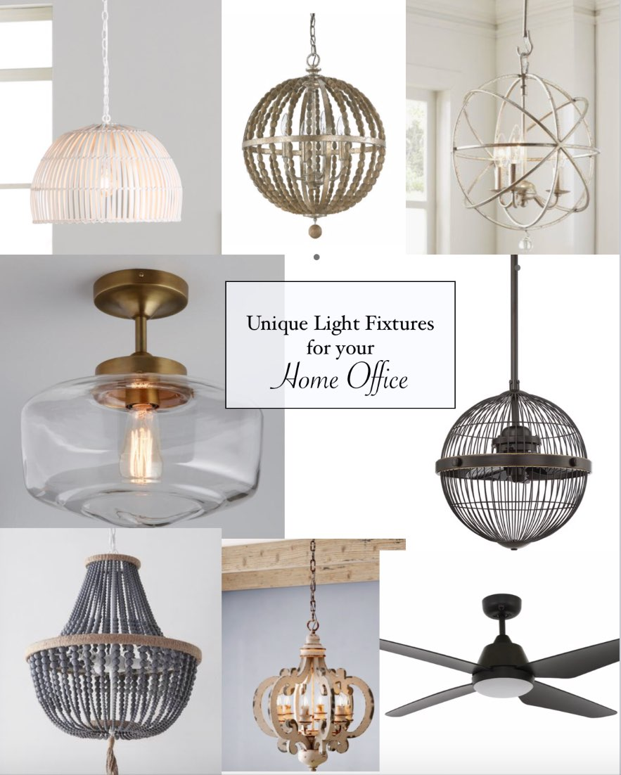 10 Unique Light Fixtures for your Home Office - I'm Fixin' To - @mbg0112 | Home Decor Ideas: 8 Unique Home Office Light Fixtures by popular North Carolina life and style blog, I'm Fixin' To: collage image of Delmore 1-Light Single Dome Pendant, Wide Globe Chandelier, 3-Light Globe Chandelier, Brass and Glass Dome Semi Flush Mount Ceiling Light, Pendant 3 Blade Ceiling Fan with Remote, 3 Light Statement Chandelier, 6-Light Lantern Geometric Pendant, and Blade Ceiling Fan with Remote.