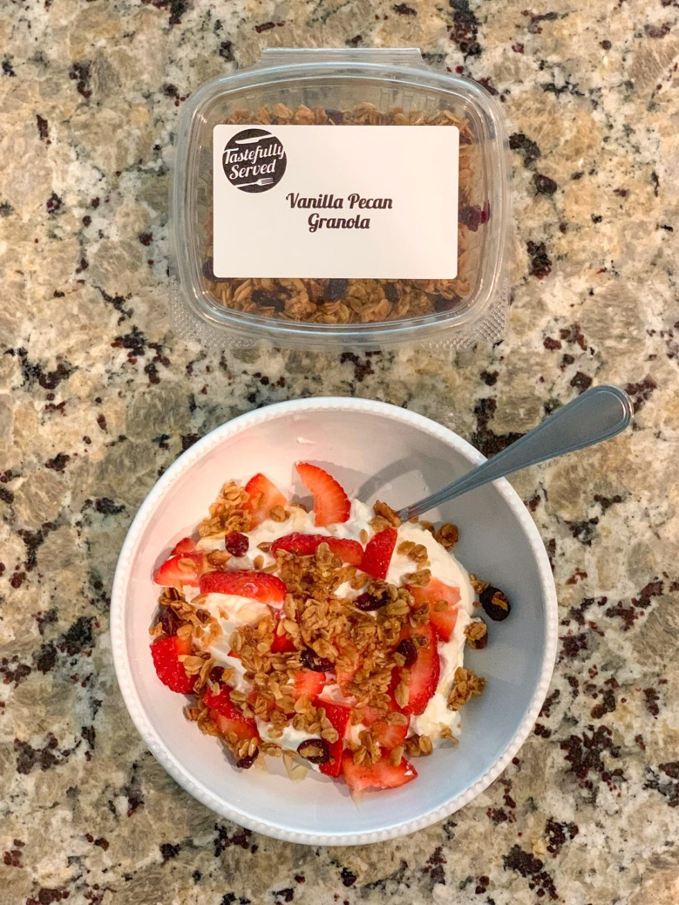 Weeknight Meal Ideas with Tastefully Served - I'm Fixin' To - @mbg0112 | Weeknight Meal Ideas with Tastefully Served by popular North Carolina lifestyle blogger, I'm Fixin' To: image of Tastefully Served Vanilla Pecan Granola.