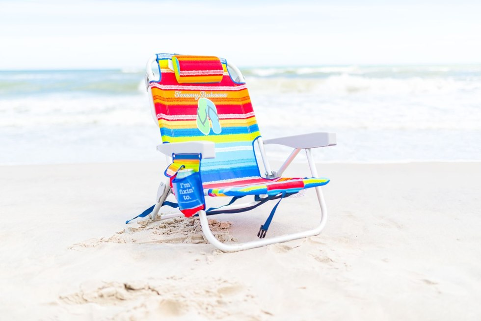 One Year Since  Hurricane Florence in North Carolina and How to Help Ocracoke by popular North Carolina blog, I'm Fixin' To: image of a Tommy Bahama chair on the beach.