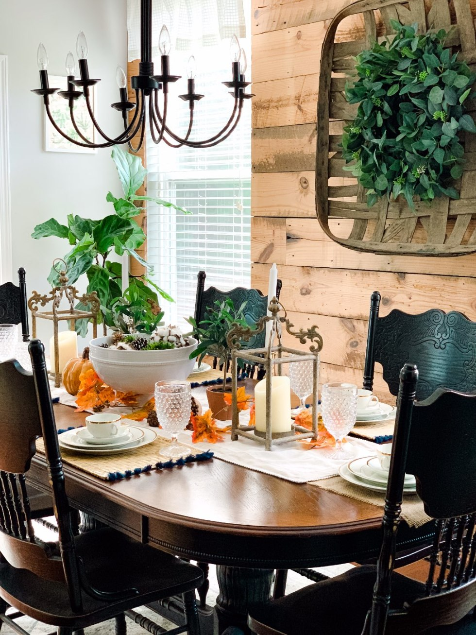 Our Fall Home Decor & Foyer Reveal - I'm Fixin' To - @mbg0112 | Cozy Fall Decor Ideas for your Home & Foyer by popular North Carolina life and style blog, I'm Fixin' To: image of a home dining room decorated with various fall decor items.