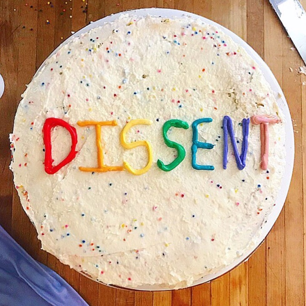 Top 12 Best Instagram Accounts to Follow - I'm Fixin' To - @mbg0112 | Top 12 Best Instagram Accounts to Follow by popular North Carolina lifestyle blog, I'm Fixin' To: image of a cake with the word ' Dissent' spelled out in frosting.