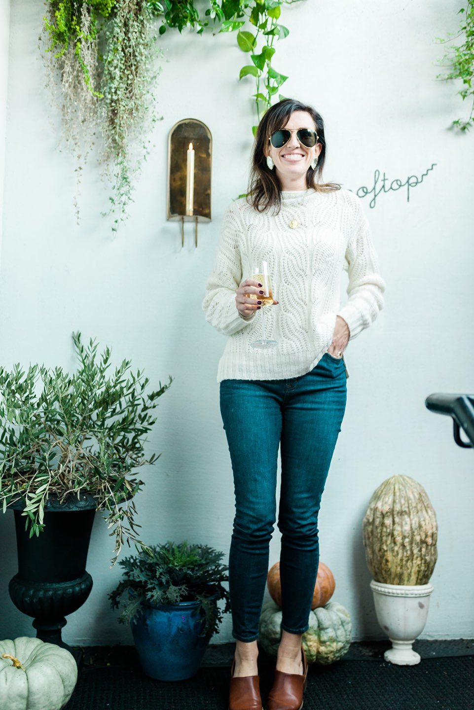 "4 Outfit Ideas for Thanksgiving Supper - I'm Fixin' To - @mbg0112 | 4 Thanksgiving Outfit Ideas by popular North Carolina fashion blog, I'm Fixin' To: image of a woman outside wearing a J. Crew Pointelle cable sweater, J. Crew 8"" toothpick jean in Vista wash, Target Universal Thread Women's Rylie Faux-Leather Heeled Open Bootie, and Hart JANUS LUCKY COIN NECKLACE."