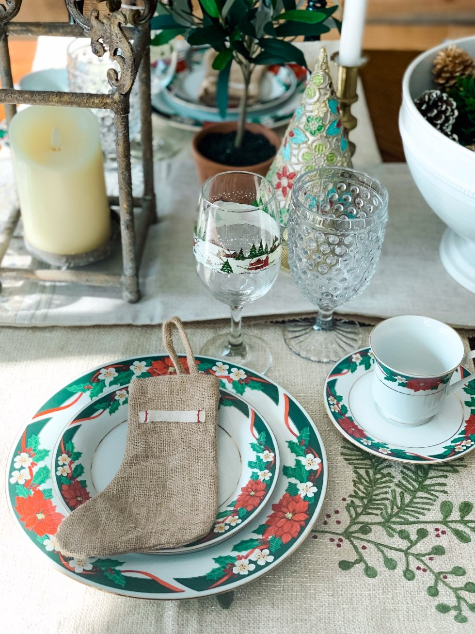 Holiday Home Decor Tour - I'm Fixin' To - @mbg0112 | Holiday Home Decor Tour by popular North Carolina life and style blog, I'm Fixin' To: image of a table set with Christmas dishes.