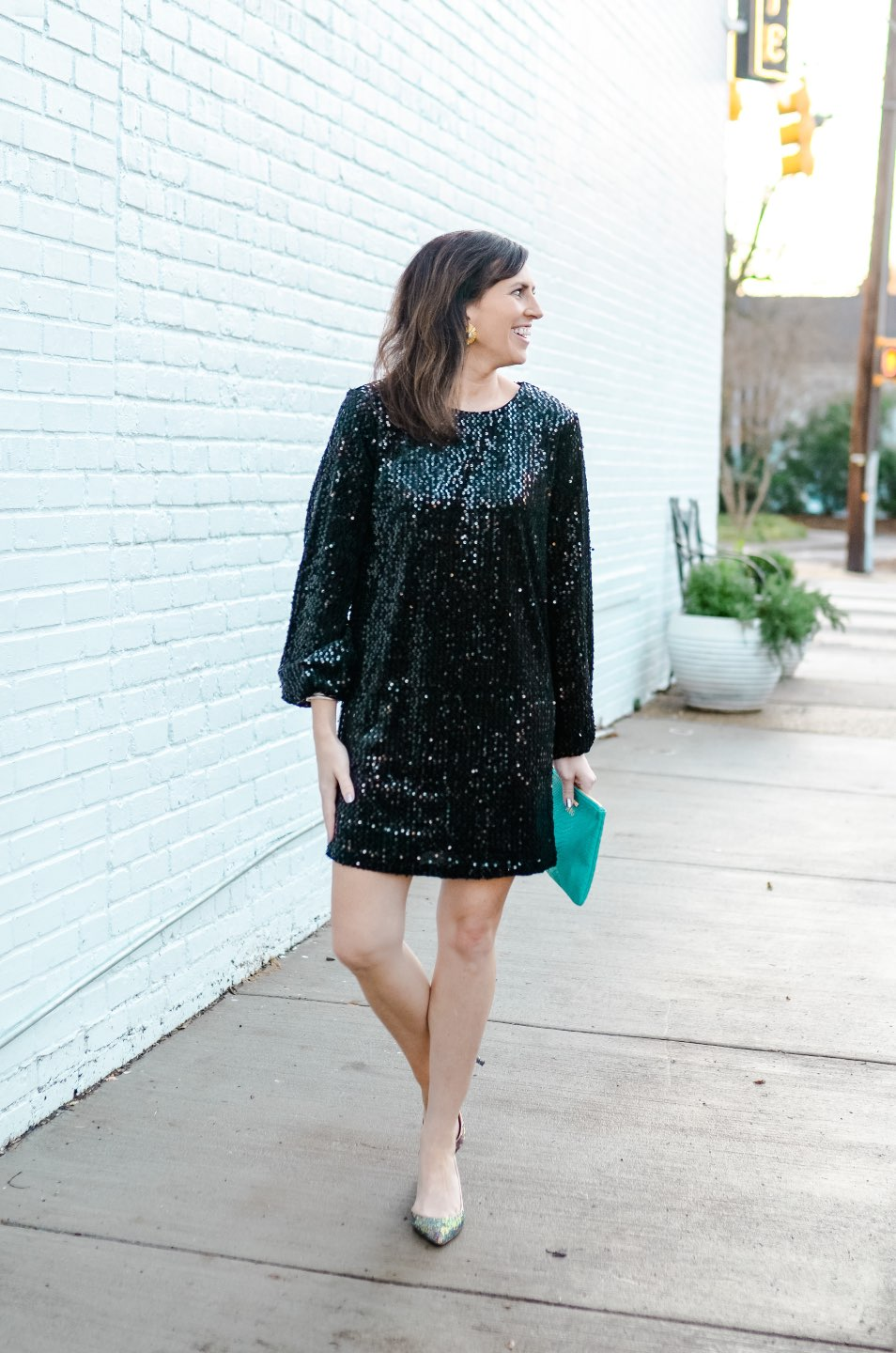 Holiday Style and Outfit Inspiration - I'm Fixin' To - @mbg0112 | Holiday Style and Outfit Inspiration by popular North Carolina fashion blog, I'm Fixin' To: image of a woman wearing a 5th and Franklin Glam & Glitz Dress, J. Crew Colette d'Orsay pumps in holographic glitter, Hunter Blake THE POPPY earrings, and Gigi New York ALL IN ONE BAG.