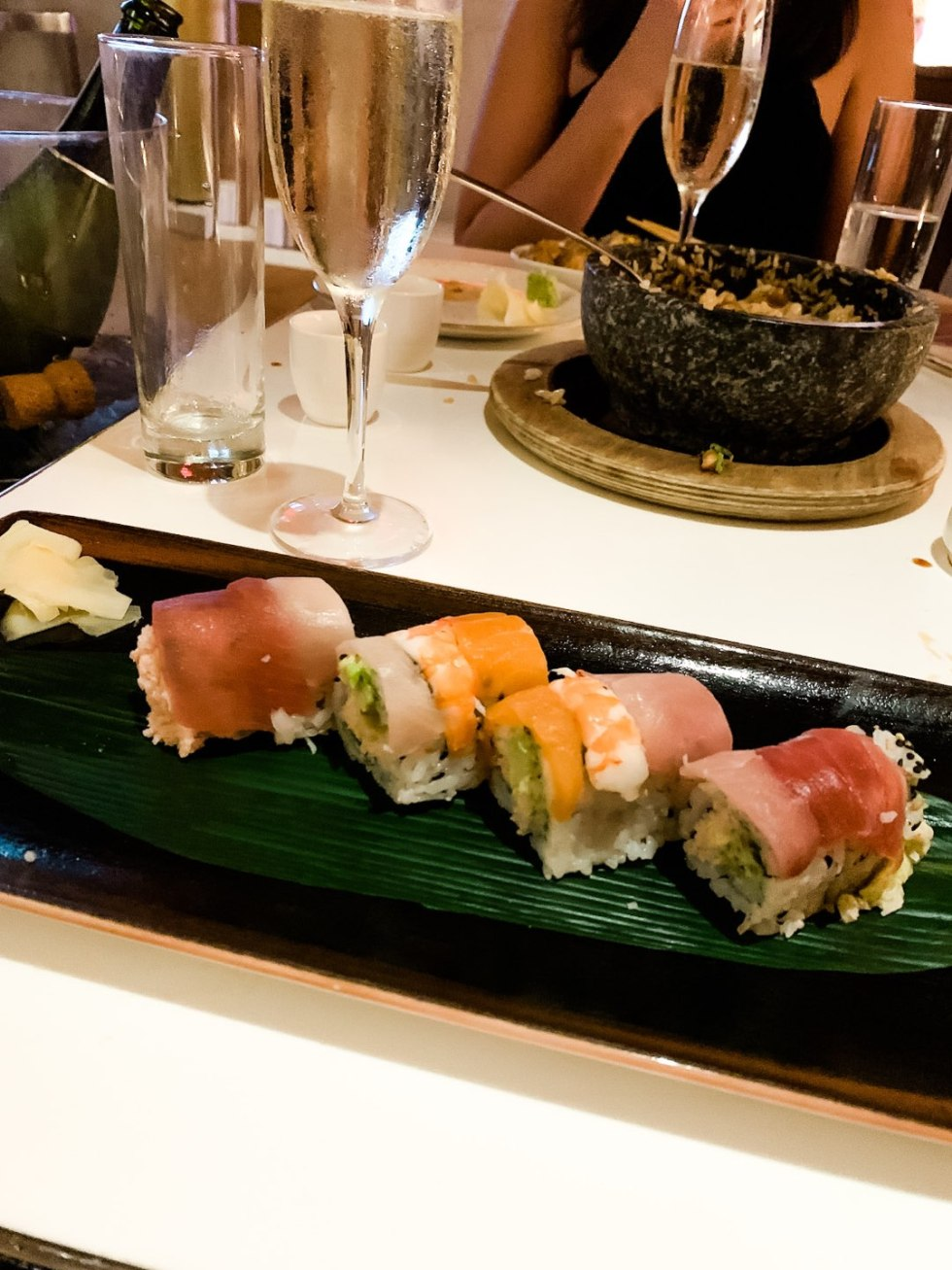 Warming Up in the Bahamas: the Best Things to Do at Baha Mar - I'm Fixin' To - @mbg0112 | Warming Up in the Bahamas: the Best Things to Do in Baha Mar by popular North Carolina travel blog, I'm Fixin' To: image of a sushi roll.