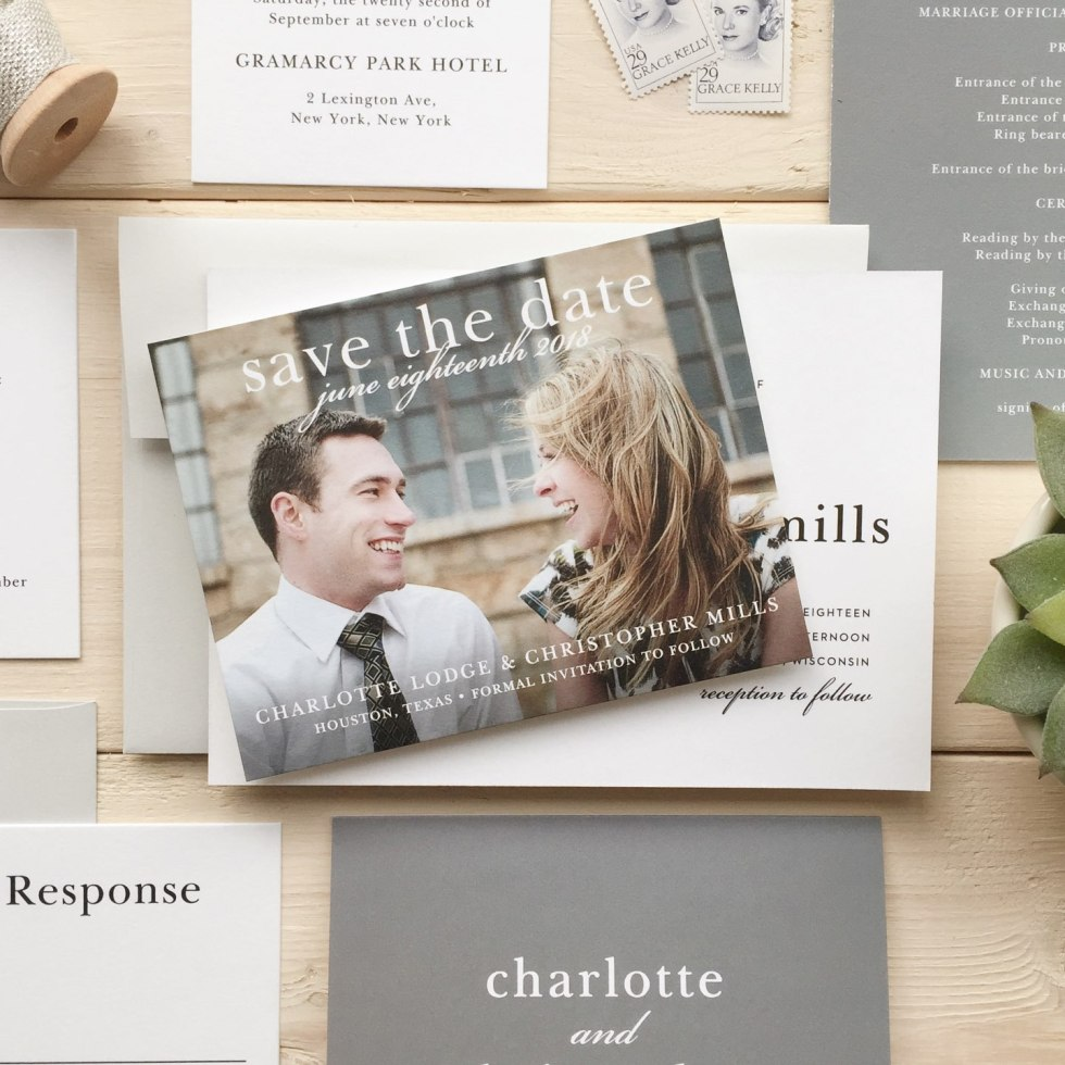Save the Date Template Options by popular Raleigh lifestyle blog, I'm Fixin To: image of a Basic Invite save the date card, stamps, ad wedding invitation.