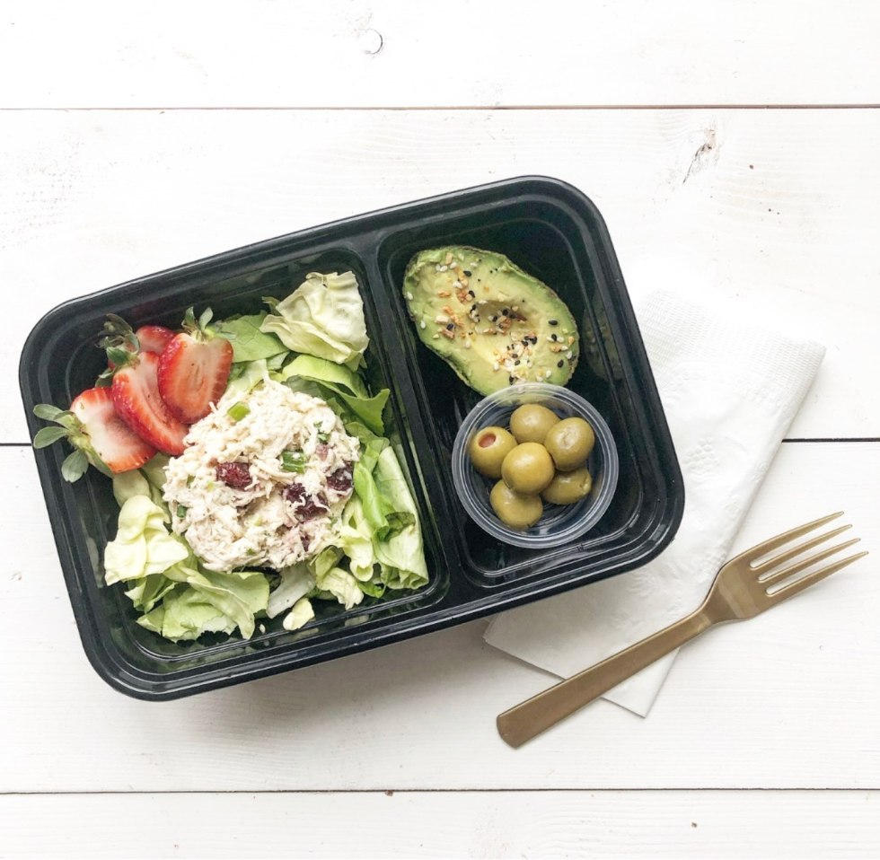The Empowered Women Series: On the Go Lunch Ideas for Teachers with Kayte Fry by popular NC life and style blog, I'm Fixin To: image of Walmart Mainstays Meal Prep Food Storage Container with lettuce, strawberries, green olives, chicken salad, and an avocado.