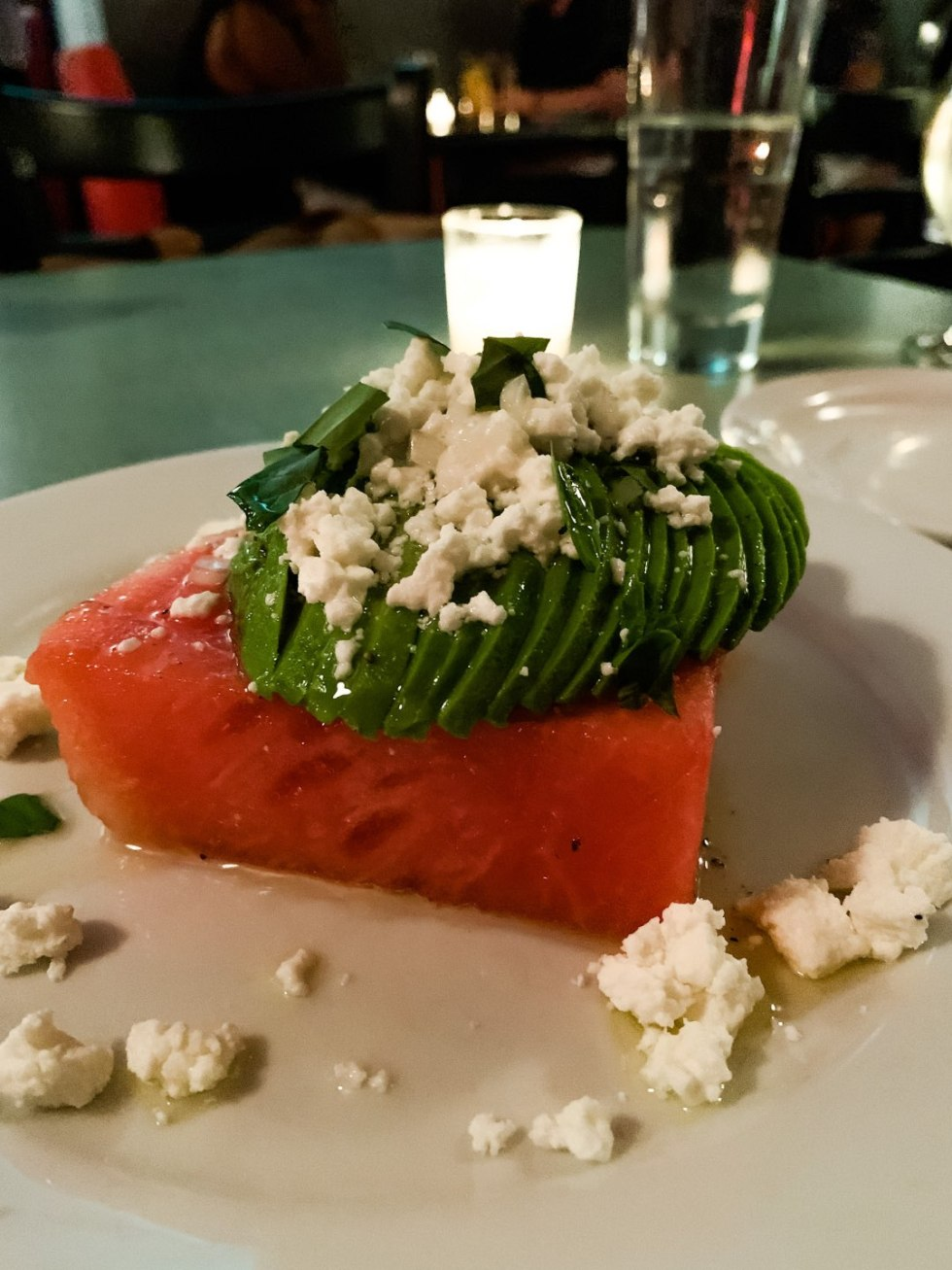 The 20 North Carolina Restaurants I Can't Wait to Visit after Quarantine - I'm Fixin' To - @mbg0112 | Best North Carolina Restaurants by popular N.C. blog, I'm Fixin' To: image of a watermelon salad at Poole's Diner.