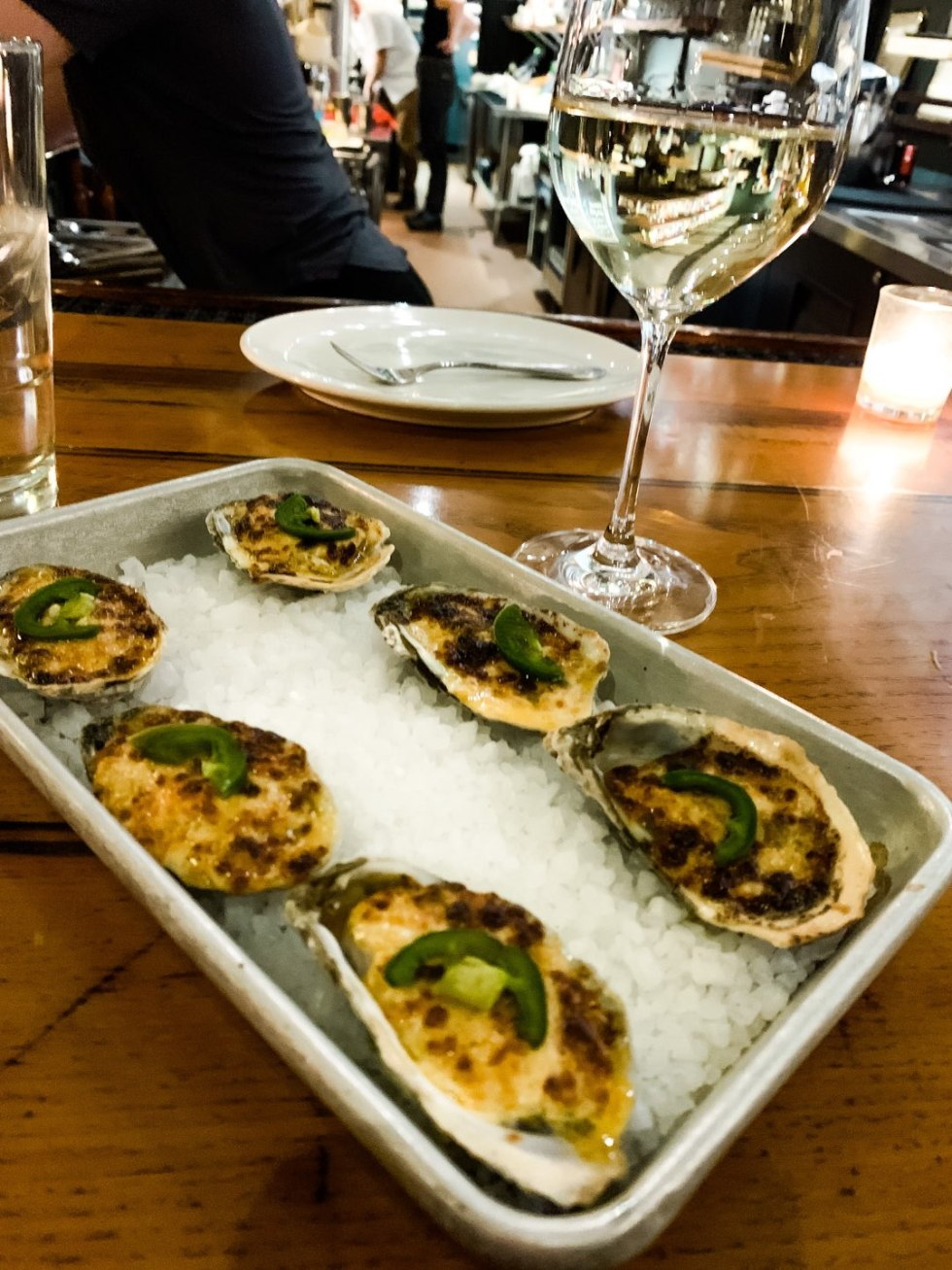Top 5 Raleigh Restaurants with Curbside Delivery - I'm Fixin' To - @mbg0112 | Best Raleigh Restaurants by popular NC blog, I'm Fixin' To: image of a plate of oysters from St. Roch Fine Oysters + Bar.