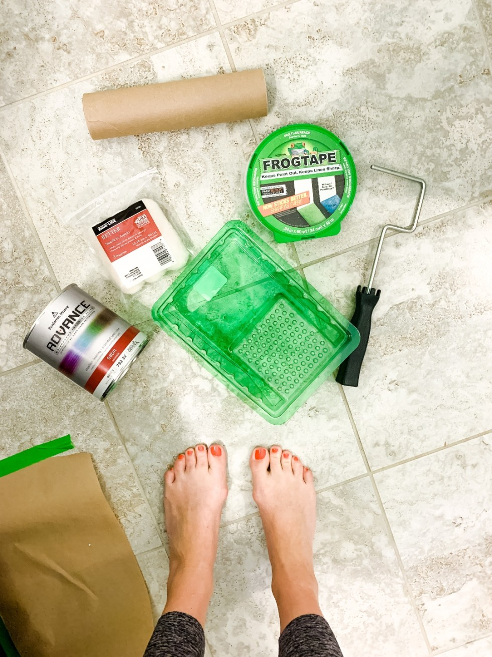 How to Renovate a Guest Bathroom on a Budget: 5 Practical Tips - I'm Fixin' To - @mbg0112 |  How to Update a Guest Bathroom on a Budget by popular North Carolina life and style blog: image of Frogtape, Amazon Wooster Brush RR013 Jumbo-Koter Frame, Wooster Brush RR304-4-1/2 Jumbo, and Benjamin Moore paint product.
