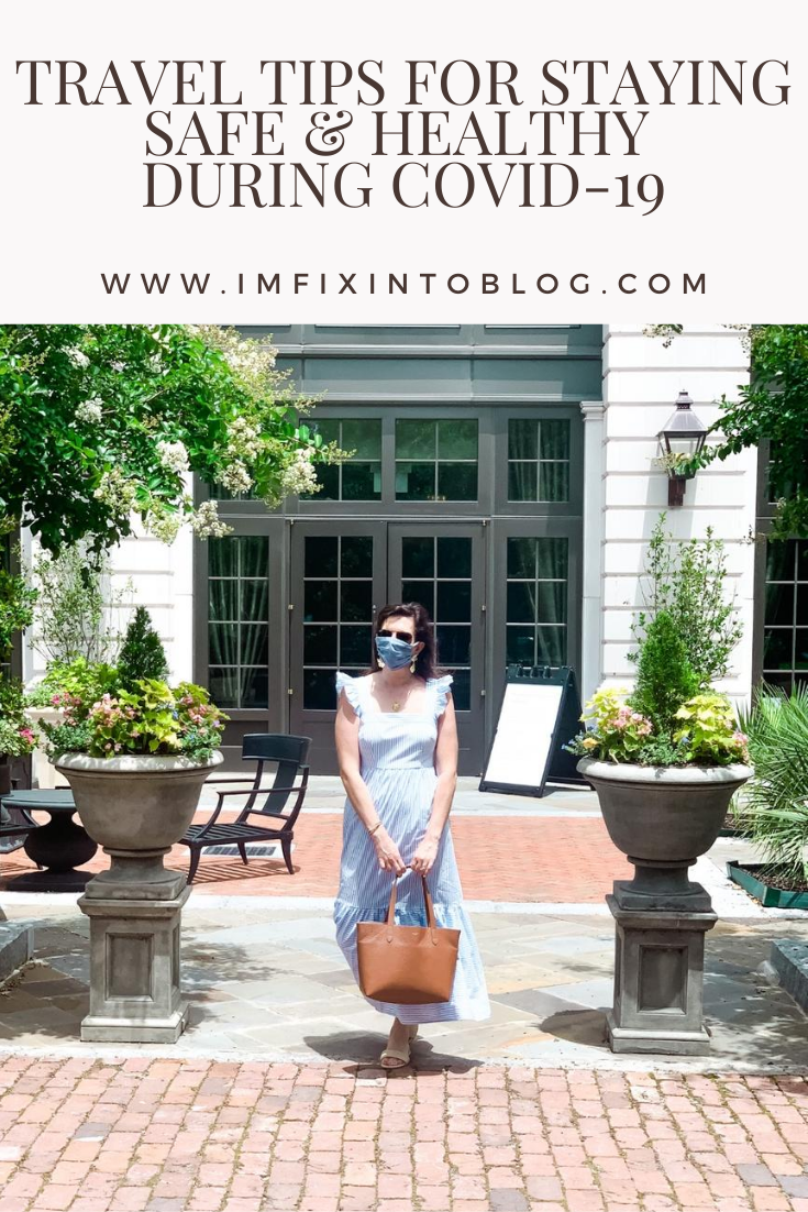 Travel Tips for Staying Safe & Healthy during COVID-19 - I'm Fixin' To - @mbg0112 | Travel Tips for Staying Safe & Healthy by popular North Carolina travel blog, I'm Fixin' To: Pinterest image of a woman standing outside a white stone building and wearing a blue and white stripe maxi dress, white heel sandals, and face mask.