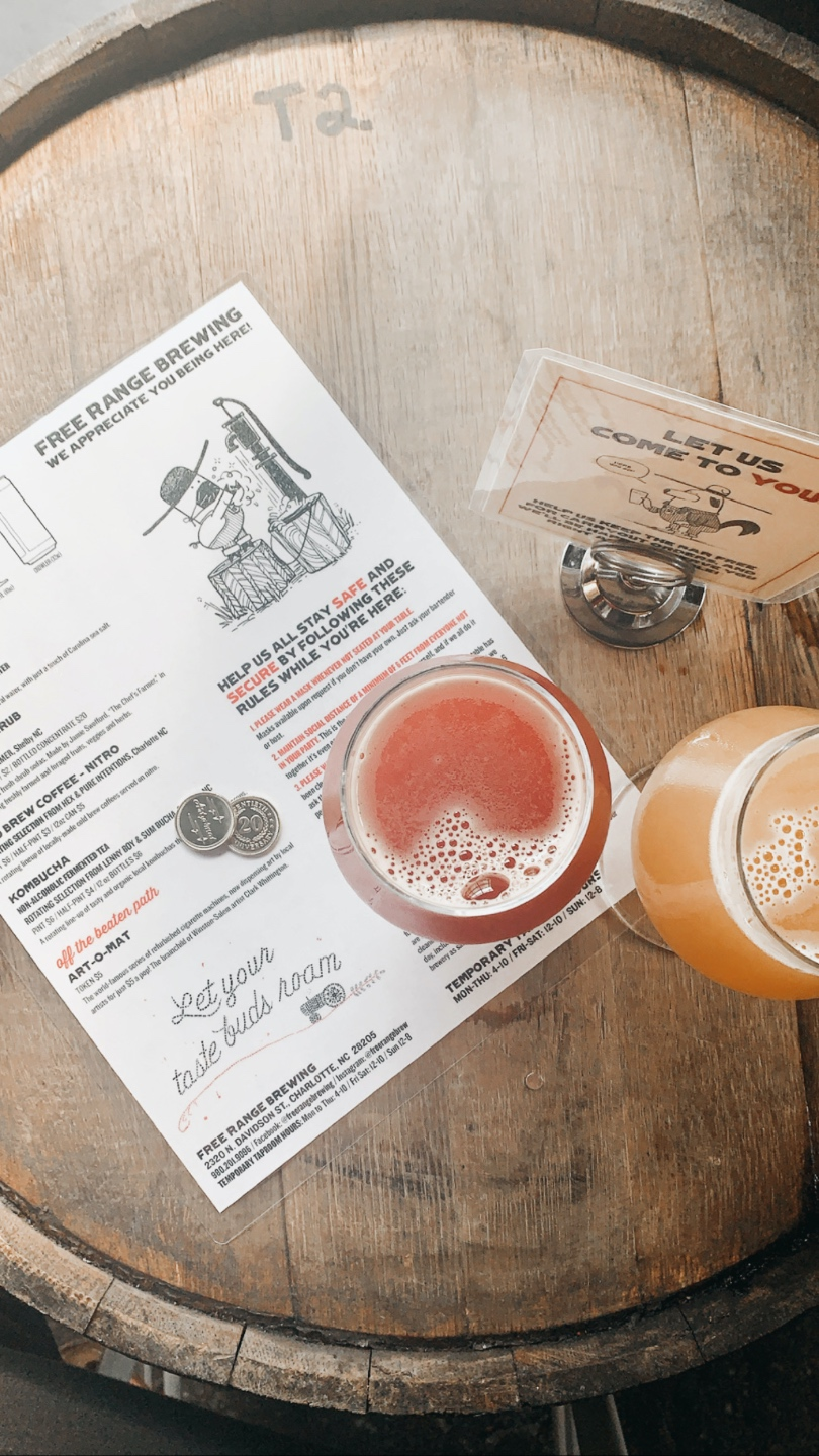 Weekend in Charlotte: Best Breweries and Places to Eat - I'm Fixin' To - @mbg0112 | Weekend in Charlotte by popular N.C. travel blog, I'm Fixin' To: image of a drink menu and glasses of beer at Heist Brewery.