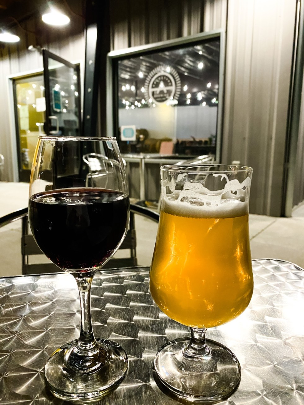 A Casual Weekend in Asheville: the Best Things to Do with your Dogs - I'm Fixin' To - @mbg0112   Weekend In Asheville by popular NC travel blog, I'm Fixin' To: image of a glass of beer and a glass of wine.