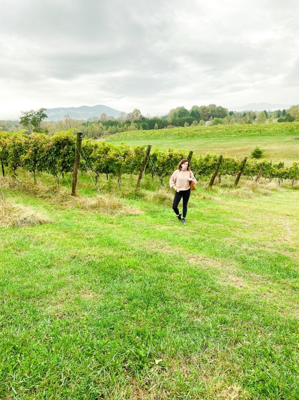 Western NC Wineries: 6 Wineries to Visit During your Next Girls' Weekend - I'm Fixin' To - @mbg0112 |Western NC Wineries by popular NC blog, I'm Fixin' To: image of a woman standing outside at Round Peak Vineyards.