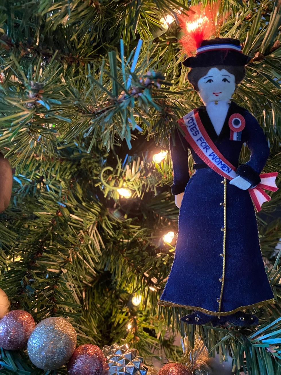 2020 Holidays: Unique Christmas Ornaments - I'm Fixin' To - @mbg0112 |Unique Christmas Ornaments by popular NC life and style blog, I'm Fixin' To: image of a suffragette ornament.