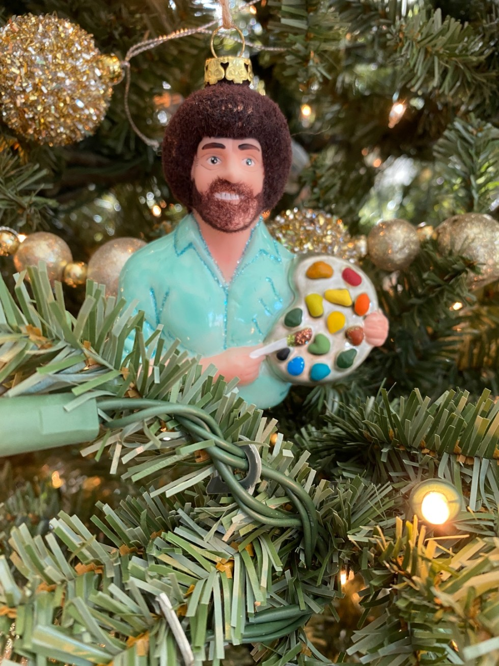 2020 Holidays: Unique Christmas Ornaments - I'm Fixin' To - @mbg0112 |Unique Christmas Ornaments by popular NC life and style blog, I'm Fixin' To: image of a Bob Ross ornament.