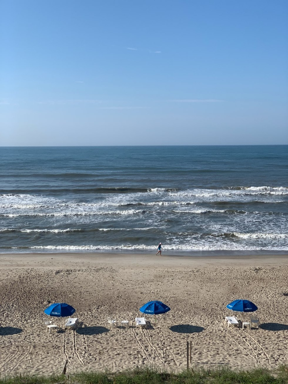 Most Popular Posts of 2020 - I'm Fixin' To - @imfixintoblog |Most Popular Posts by popular NC lifestyle blog, I'm Fixin' To: image of blue shade umbrellas and white lounge chairs on a beach.