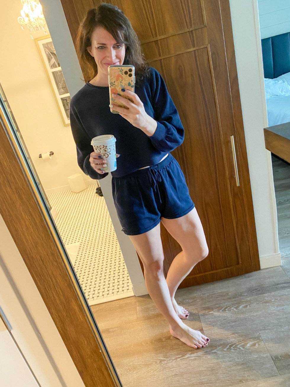 Weekend Travel: The Best Things to Do in Beaufort NC in 48 Hours - I'm Fixin' To - @imfixintoblog |Things to Do in Beaufort NC by popular NC travel blog, I'm Fixin' To: image of a woman wearing a blue loungewear set.